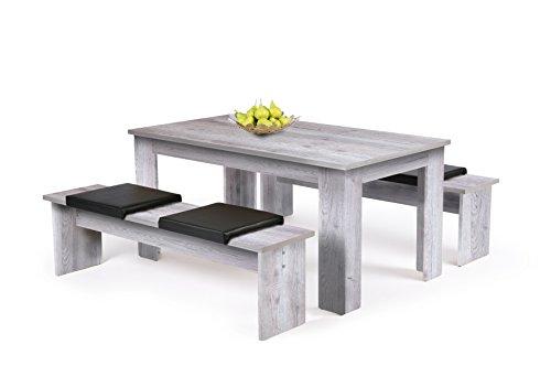 Inter Trade Corporation Tischgruppe - Esszimmertisch + 2 Bänke (verschiedene Farben und Größen wählbar)