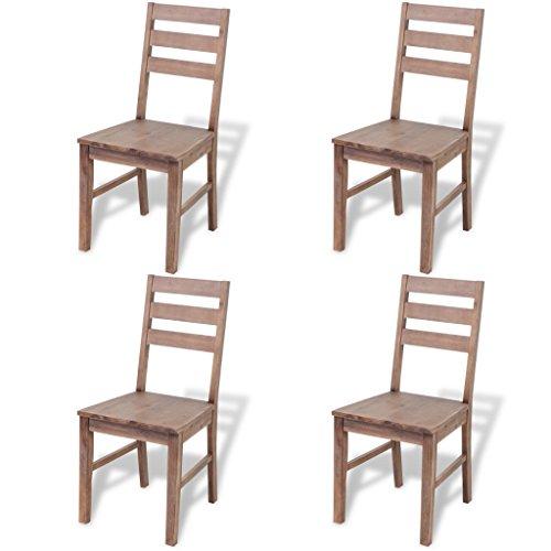vidaXL Akazie Massivholz Essgruppe Sitzgruppe Esszimmer Set Esstisch 4 Stühle
