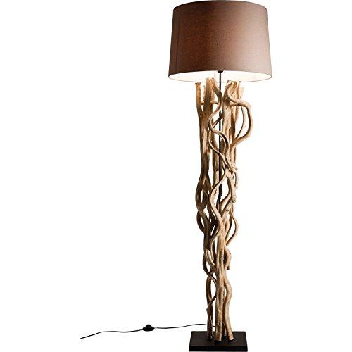 Kare Stehlampe Scultra, 34925, moderne, große Design Standleuchten mit beigem Stoffschirm und gewölbtem Massivholz (H/B/T) 175x55x55cm
