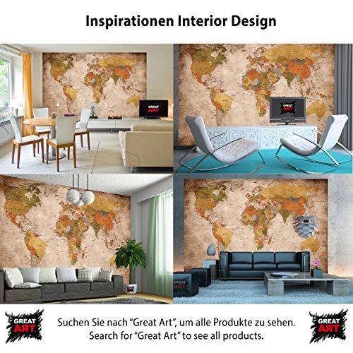 Fototapete Weltkarte - Wandbild used look Dekoration - old school vintage world-map - Globus Kontinente Atlas retro - Weltkugel Geografie - Foto-Tapete Wandtapete Fotoposter Wanddeko by GREAT ART (336 x 238 cm)
