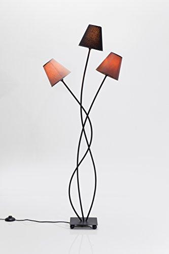 Kare Stehleuchte Flexible Mocca Tre, Retro Design Stehlampe für das Wohnzimmer, dezente Leselampe, Standleuchte mit bunten Stoffschirmen (Beige, Schwarz, Braun), (H/B/T) 130x50x18cm