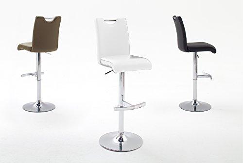 Robas Lund Stuhl, Barstuhl, Barhocker, Aachen, 360 Grad drehbar, 2er Set, weiß/verchromt, 52 x 42 x 98 cm, AAC10WX2