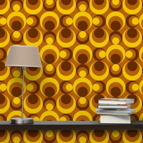 Retrotapete Vliestapete - 70er Jahre Tapete Kreisdesign - Fototapete Quadrat Vlies Tapete Wandtapete Wandbild Foto 3D Fototapete, Größe HxB: 240cm x 240cm