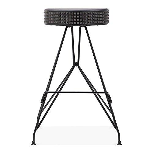 Cult Design Moda Metall Barhocker CD1, Kunstleder Sitz mit Nieten, Schwarz 66cm