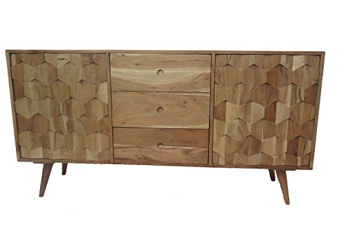 Retro Sideboard Kommode Honeycomb Akazie Massiv