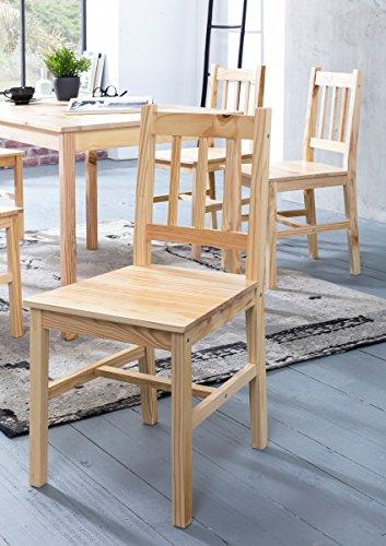 WOHNLING Esszimmer-Set EMIL 3 teilig Kiefer-Holz Landhaus-Stil 70 x 73 x 70 cm | Natur Essgruppe 1 Tisch 2 Stühle | Tischgruppe Esstischset 2 Personen | Esszimmergarnitur massiv