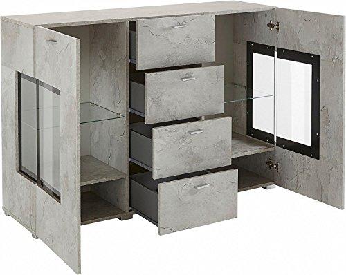 generic sideboard wohnzimmer wohnwand anbauwand beton optik matt neu 643444 retro stuhl. Black Bedroom Furniture Sets. Home Design Ideas