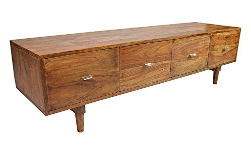 TV-Board Massivholz Sideboard Sheesham Authentic Memory Retro Mid Century Design 150 CM 4 Schub