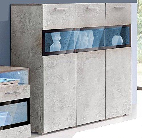 Generic Highboard Sideboard KOMMODE Wohnzimmer ANBAUWAND Beton-Optik ...