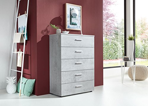 BMG Möbel Schubladen Kommode Sideboard Tower MARBELLA 6 in Beton Betonoptik - Made in Germany -