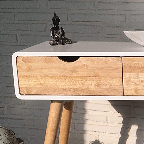konsolentisch 120 x 30 x 80 cm skandinavisch wei natur retro mit drei schubladen als. Black Bedroom Furniture Sets. Home Design Ideas