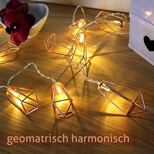 lichterkette geometrisch laterne led lampe vintage look beleuchtung retro design kupfer rosegold. Black Bedroom Furniture Sets. Home Design Ideas