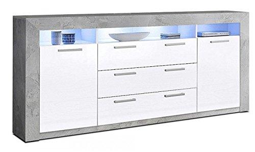 Generic Sideboard Wohnzimmer Wohnwand Anbauwand Beton Optik Weiss Hochglanz Neu 708156