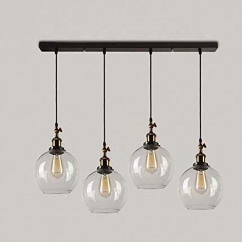 BAYCHEER Retro Pendelleuchte Kronleuchter Hängelampe Glas Lampe 4 Fassung  Mit Boden Für Esszimmer Wohnzimmer