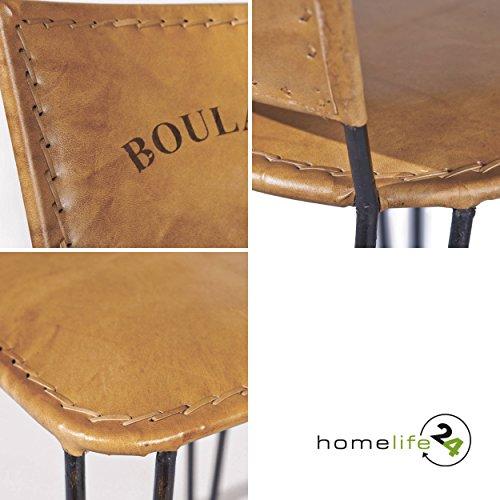 Stuhl 2er Set Leder braun schwarz Eisen Stuhl Retro Vintage Antik Echtleder Wohnzimmerstuhl Esszimmerstuhl für Ihre vintage Einrichtung Ihrer Küche oder Wohnzimmer Unikat