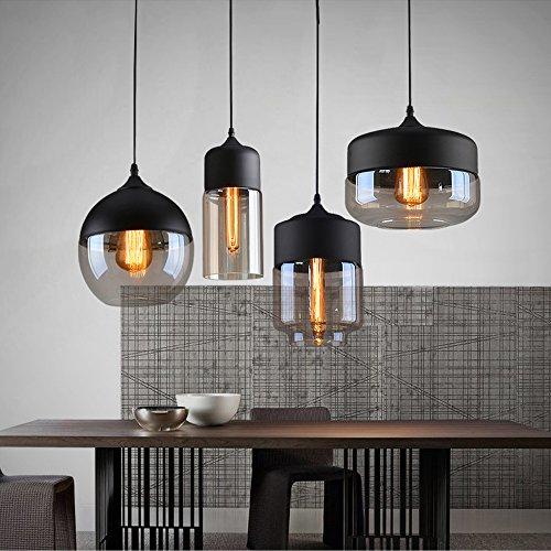 Weare Home Retro-Platt Durchsichtiger Glas-Lampenschirm Pendelleuchten, Durchmesser 25cm, Höhe 21cm