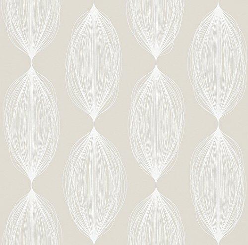 Rasch Tapeten 898026 Rasch Vlies-Tapete, Muster, skandinavisch, Retro, beige Freja, Weiß