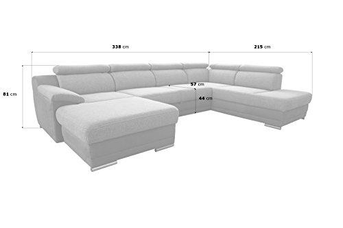 cavadore wohnlandschaft xenit mit bettfunktion verstellbaren kopfst tzen xxl couch mit bett in u. Black Bedroom Furniture Sets. Home Design Ideas