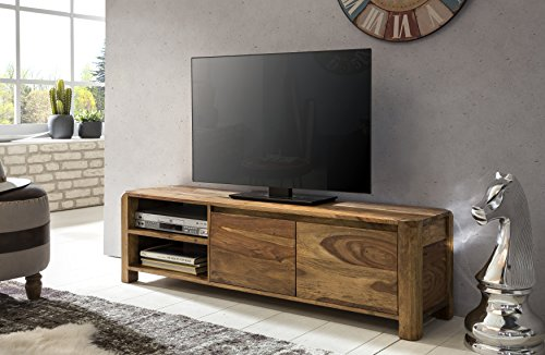 wohnling lowboard massivholz sheesham kommode 140 cm tv board ablage f cher landhaus stil dunkel. Black Bedroom Furniture Sets. Home Design Ideas