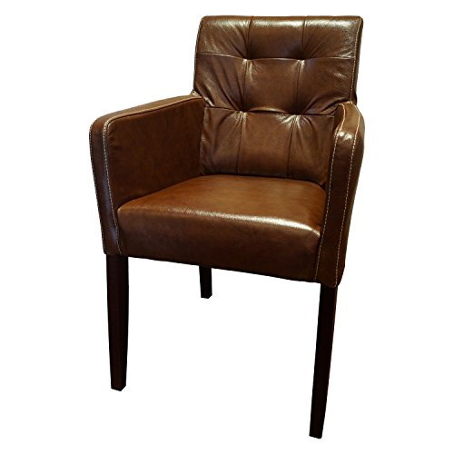 Echtleder st hle david arm pik brown 3000 lederst hle for Echtleder stuhle esszimmer