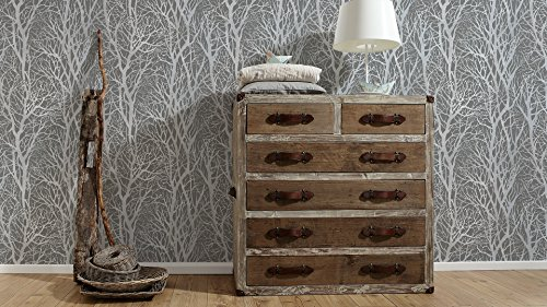 A.S. Création Vliestapete Life 4 Tapete floral natürlich 10,05 m x 0,53 m grau metallic Made in Germany 300943 30094-3