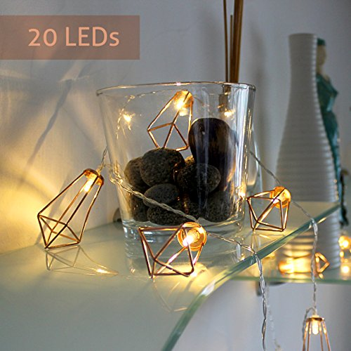 lichterkette geometrisch laterne led lampe vintage look beleuchtung retro design kupfer rosegold. Black Bedroom Furniture Sets. Home Design Ideas