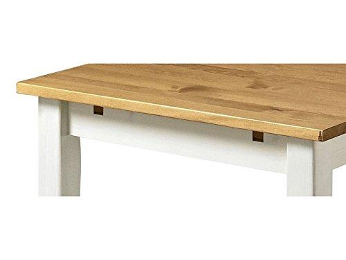 Loft24 TAVIAN Essgruppe Essecke Tisch Set Esszimmertisch 120 cm Esszimmerstühle Kiefer massiv Landhaus (weiß honig)