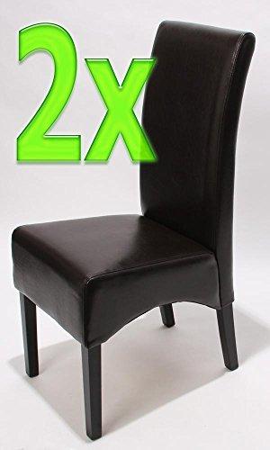 Mendler 2x Esszimmerstuhl Lehnstuhl Stuhl Latina, LEDER ~ braun, dunkle Beine