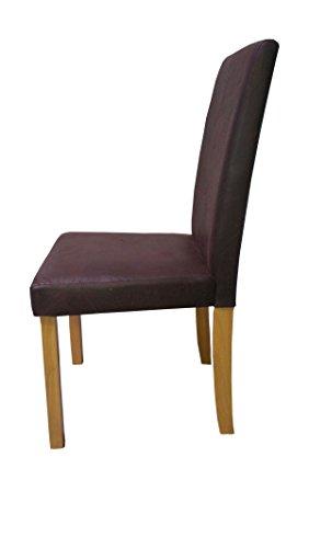 SAM® 2-er Set Polster-Stuhl, Esszimmer-Stuhl in dunkelbrauner Antik-Optik, Stuhlbeine buchefarbig, massiver Design-Stuhl in Wildlederoptik für Küche und Esszimmer [53257653]