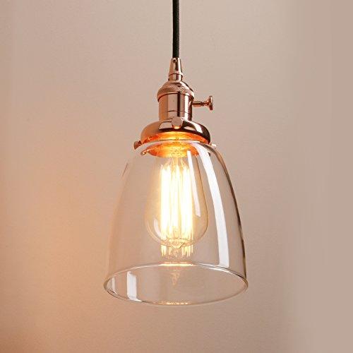 Pathson 3 Glocke Retro Design Klar Glas innen Pendelleuchte Hängeleuchte Vintage Industrie Loft-Pendelleuchte Hängelampen Hängeleuchte Pendelleuchten (Kupfer Farbe)