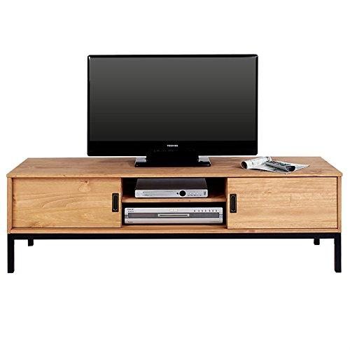 IDIMEX Lowboard TV Möbel SELMA, Fernsehtisch Fernsehschrank im industrial Design mit 2 Schiebetüren 1 offenes Fach, Kiefer massiv, gebeizt/gewachst