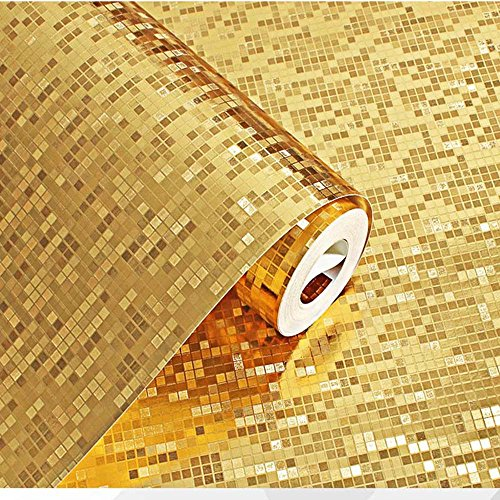 10 Meter 3D Retro Mosaik Dreidimensional PVC Fototapete Top Tapete Wandbilder Bild Tapeten Wand (gold)