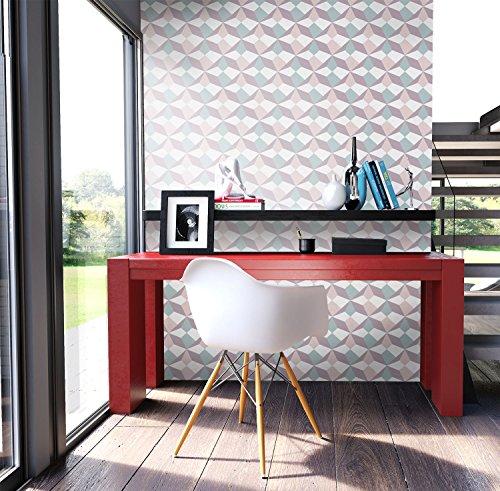 NEWROOM Tapete Lila Vliestapete Türkis Creme Grafik,Modern,Retro schöne moderne und edle Design Optik , inklusive Tapezier Ratgeber