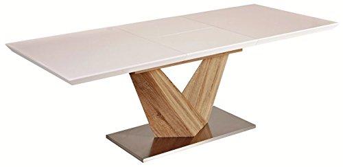 Tisch Esstisch Esszimmertisch Säulentisch 90x160 (220) Hochglanz weiß ausziehbar ALARAS
