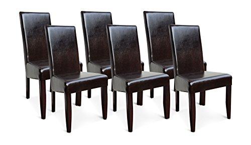 6X Esszimmerstühle Leder Braun Wenge Gestell Buche fertig montiert Polsterstuhl Lehnstuhl