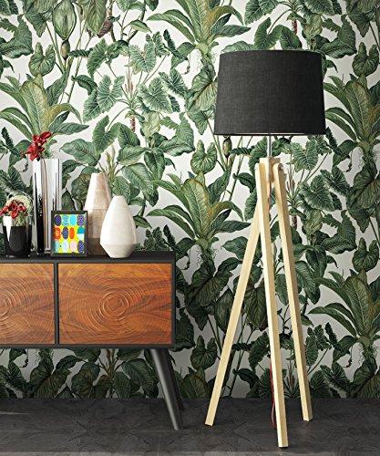 NEWROOM Blumentapete Tapete Grün Blumen Blätter Floral Vliestapete Vlies moderne Design Optik Tapete Modern inkl. Tapezier Ratgeber