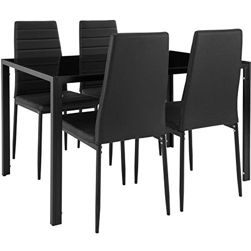 TecTake Esszimmergruppe mit Esstisch und 4 Essstühlen | Strapazierfähiges Kunstleder | Robuste Tischplatte aus Sicherheitsglas - diverse Farben (Schwarz | Nr. 402837)