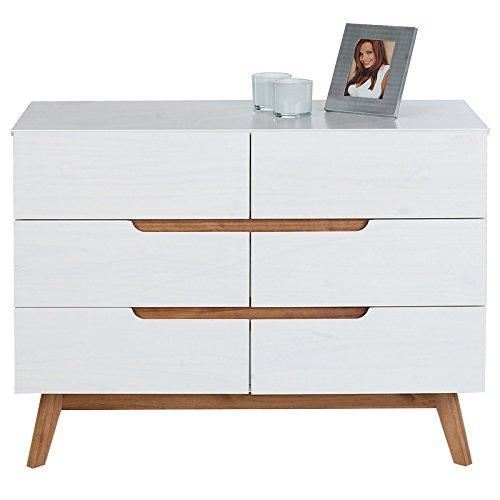 IDIMEX Kommode Schubladenkommode TIBOR in nordischen Design, Sideboard Anrichte mit 6 Schubladen im skandinavischen Design, Kiefer massiv, weiß lackiert