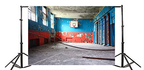 yongfoto 3x 2m Old Ruined Basketball Court Hintergrund Grunge Peeling Farbe bemalt Tapete Vintage Concerte Boden Innen Hintergründe für die Fotografie Retro Sport Thema Vinyl Foto Hintergrund Jungen Studenten Studio Requisiten