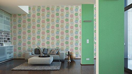 A.S. Création Vliestapete Pop Colors Tapete im Retro Design Retrotapete 70er Jahre Style 10,05 m x 0,53 m beige grün rosa Made in Germany 355902 35590-2
