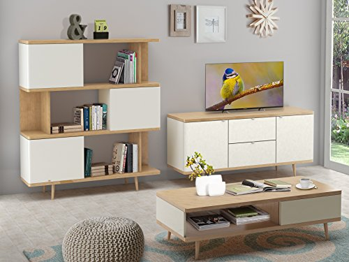 Loft24 Sideboard ANNE aus Spanplatte foliert in weiß und eiche im modernen Retro Design