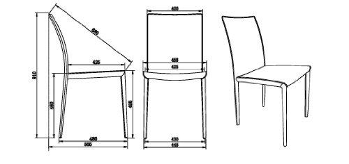 AC Design Furniture 42340 Esszimmerstuhl 2-er Set Emma, 100% regeneriertes Leder braun, Kontrastnähte creme