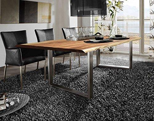 SAM® Esszimmertisch 160x85 cm Ida, echte Baumkante, massiver Esstisch aus Akazienholz, Metallbeine silber, Baumkantentisch