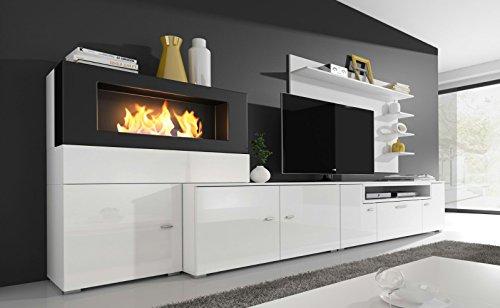 Wohnwand retro  Home innovation- Moderne Wohnwand, TV-Lowboard, Esszimmer mit Kamin ...