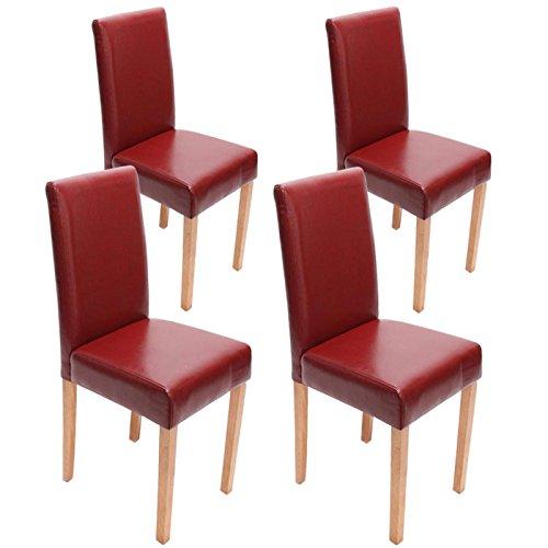 mendler 4x esszimmerstuhl stuhl lehnstuhl littau leder rot helle beine retro stuhl. Black Bedroom Furniture Sets. Home Design Ideas