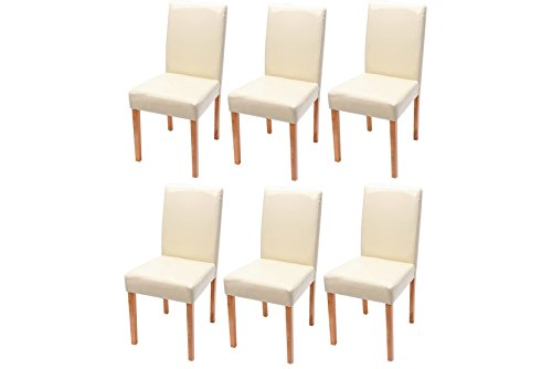 mendler 6x esszimmerstuhl stuhl lehnstuhl littau kunstleder creme helle beine retro stuhl. Black Bedroom Furniture Sets. Home Design Ideas