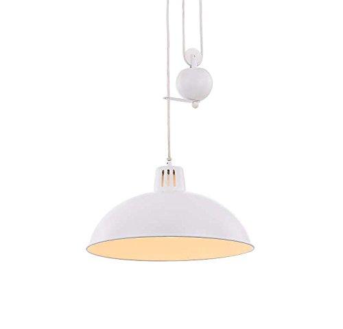 Vintage Hängelampe 1 Flammig Weiß Hängeleuchte Pendelleuchte Esszimmerlampe (Pendellampe, Esstischlampe, Küchenlampe, 37 cm, Höhenverstellbar 198 cm)