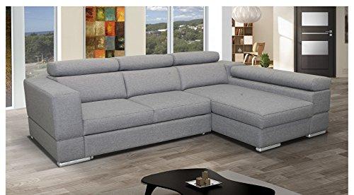 mb moebel ecksofa mit schlaffunktion eckcouch sofa couch l form polsterecke grau isabel retro. Black Bedroom Furniture Sets. Home Design Ideas