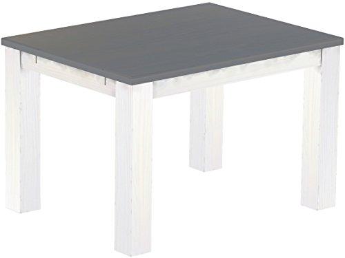 Brasilmöbel Esstisch 'Rio Classico' 120 x 90 x 78 cm, Pinie Massivholz, Farbton Seidengrau - Weiß
