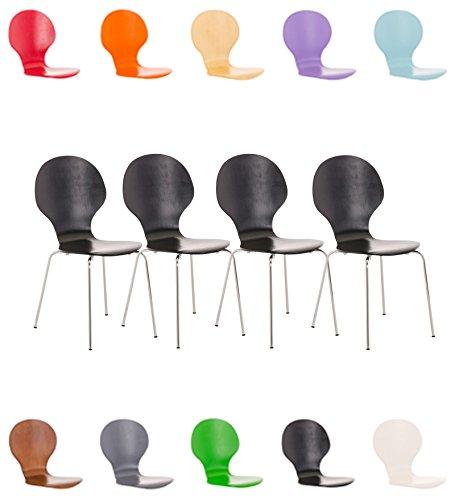CLP 4X Stapelstuhl Diego ergonomisch Geformter Konferenzstuhl mit Holzsitz und stabilem Metallgestell I 4X Platzsparender Stuhl mit Pflegeleichter Sitzfläche I in Verschiedenen Farben erhältlich